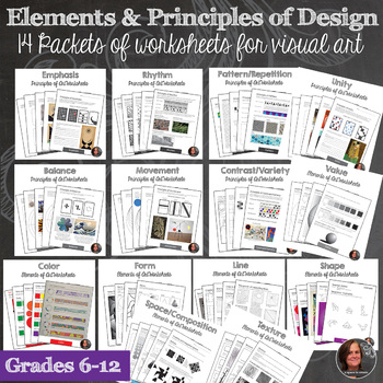 Elements of Art and Principles of Design Worksheet Packets