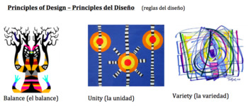 Principles of Design vocabulary in Spanish