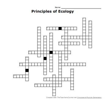 Principles of Ecology Crossword Puzzle