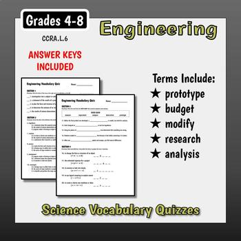 Science Vocabulary Assessments - Principles of Engineering