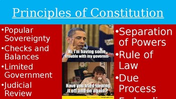 Principles of Government PPT, Guided Notes, and Picture Book Rubric