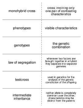 Principles of Inheritance Vocabulary Flash Cards for Zoology