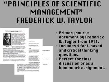 """Principles of Scientific Management"" - Frederick W. Taylor - APUSH"
