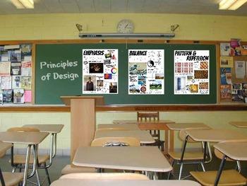 Principles of Design Posters Art Classroom Set of 7 Handouts Large Block Posters