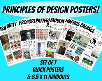Principles of Design Posters Art Classroom Set of 7 Handou