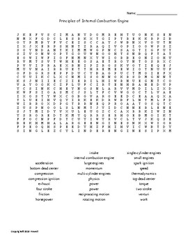 Principles of the Combustion Engine Word Search for an Agriculture Power Class
