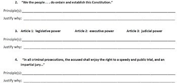 Principles of the Constitution - Analyze the Quotes/Statements