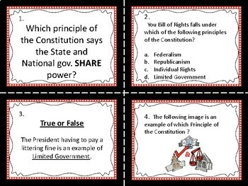 Principles of the Constitution Task Cards