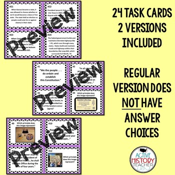 Principles of the Constitution Task Cards Activity - Modified Version Included