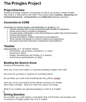 Project Based Learning: The Pringles Project (Engineering/Physics/STEM)