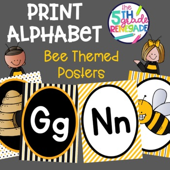 Print Alphabet Anchor Charts for Primary Grades Bee Theme
