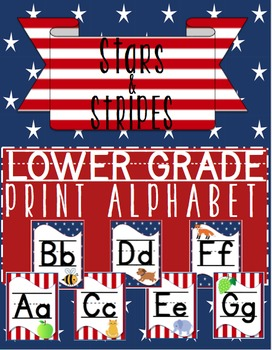 **Freebie** Print Alphabet Lower Grades Stars & Stripes Classroom