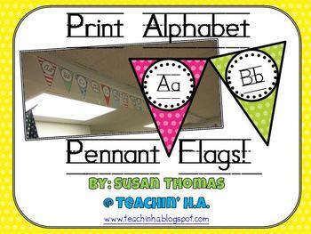 Print Alphabet Pennant Flags Polka Dots