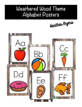 Print Alphabet Posters Weathered Wood Theme