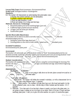 Print Awareness Lesson Plan and Materials