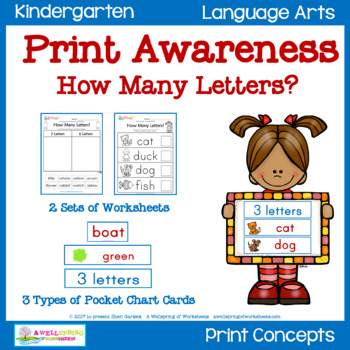 Print Awareness - Sorting & Counting Worksheets, Pocket Chart Cards & Strips