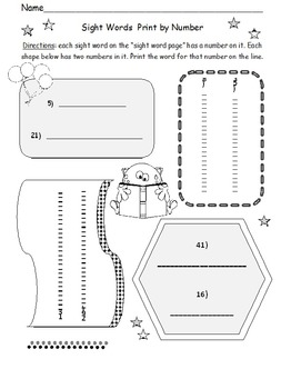 Print By Number Sight Words (1st Grade)