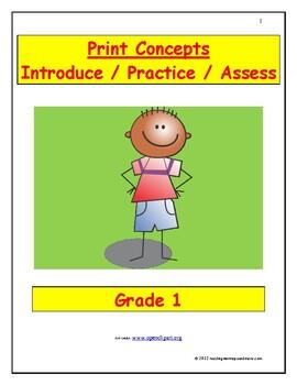 Print Concepts: Introduce/Practice/Assess - Grade 1