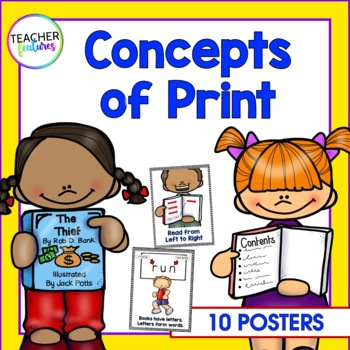 Print Concepts Posters for Emerging Readers