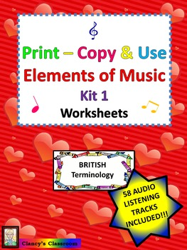 Print-Copy & Use Elements of Music Worksheets Kit 1 British Terminology