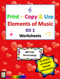 Print-Copy & Use Elements of Music Worksheets Kit 1 Britis