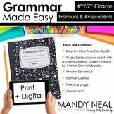 Print + Digital Fourth and Fifth Grade Grammar (Pronouns a