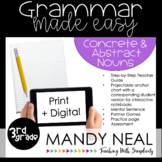 Print + Digital Third Grade Grammar (Concrete and Abstract