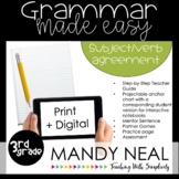 Print + Digital Third Grade Grammar (Subject Verb Agreemen