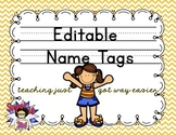 Print Editable Name Tags- Bee Theme