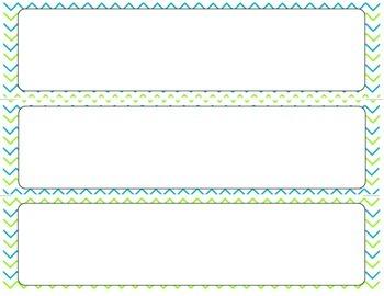 Print Editable Name Tags- Blue and Lime Chevron