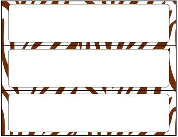 Print Editable Name Tags- Brown Zebra