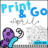 April No Prep Math and Literacy Worksheets for Kindergarten
