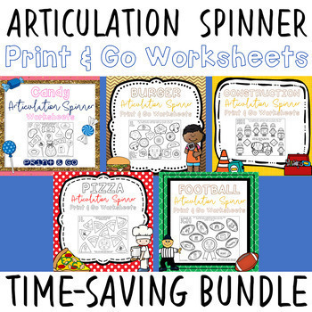 Articulation Spinner Worksheet BUNDLE - Print & Go Speech Therapy Activities