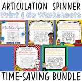 Print & Go Articulation Spinner Worksheet BUNDLE - Great f