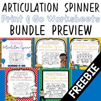 Print & Go Articulation Spinner Worksheets Bundle Preview - FREEBIE!