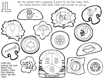 Articulation Spinner Worksheets - Print & Go Speech Therapy Activity