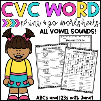 CVC Word Print & Go Worksheets (Print & Google Versions)