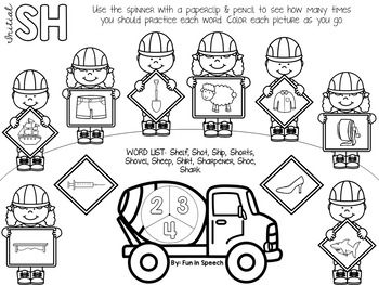 Print & Go Construction Articulation Spinner Worksheets - 50 Pages!