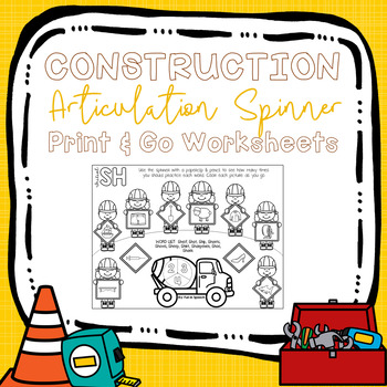 Construction Articulation Spinner Worksheets -Print & Go Speech Therapy Activity
