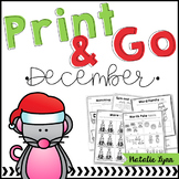 December No Prep Math and Literacy Worksheets for Kindergarten