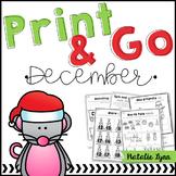 December No Prep Math and Literacy Worksheets for Kindergarten