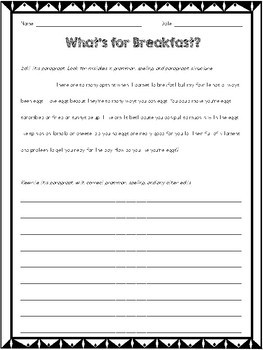 Print & Go Editing Paragraphs: 10 Passages for Grades 3-5