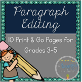 Print & Go Paragraph Editing: 10 Passages for Grades 3-5