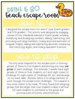 Print & Go Escape Room - Math - Beach Back to School