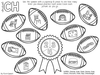 Football Articulation Spinner Worksheets - Print & Go Speech Therapy Activity