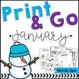 January No Prep Math and Literacy Worksheets for Kindergarten