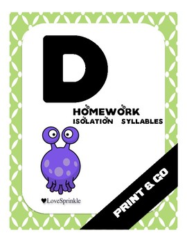 Print & Go: Letter D ( Isolation & Syllables)