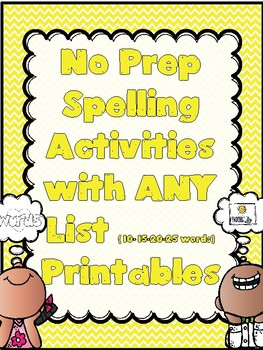NO PREP Spelling Activities for ANY List Printables (All Year)