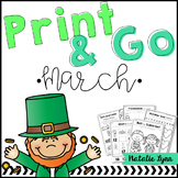March No Prep Math and Literacy Worksheets for Kindergarten