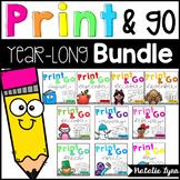 Kindergarten Monthly No Prep Math and Literacy Printables